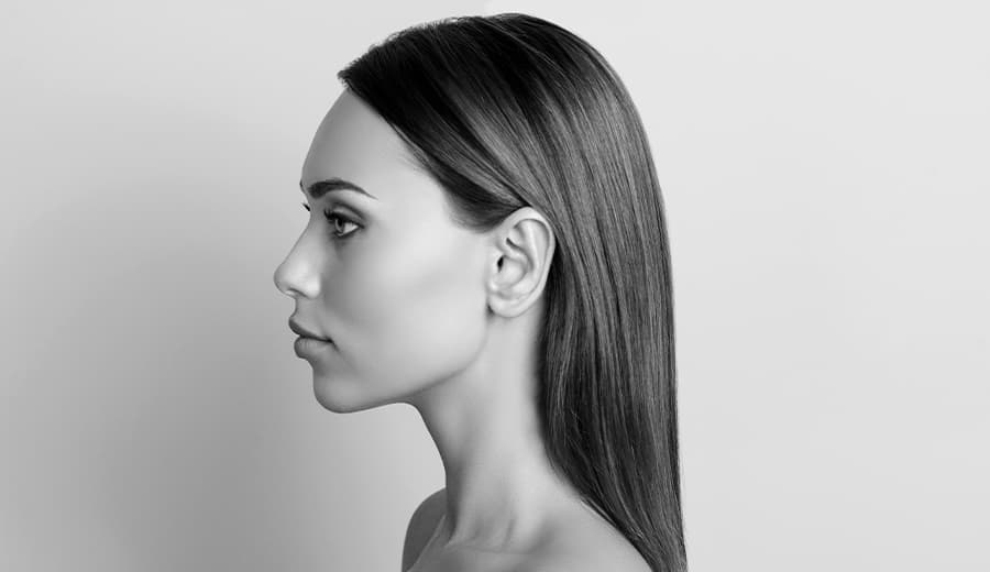 side profile view of woman's face